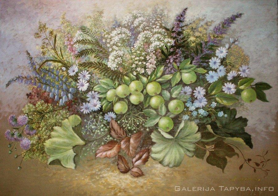 Pievų puokštė su laukiniais obuoliukais