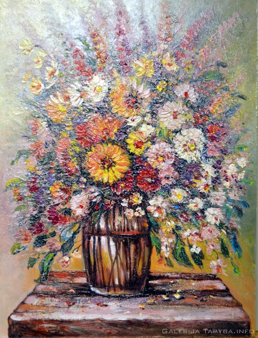 Stalelis su gėlėmis