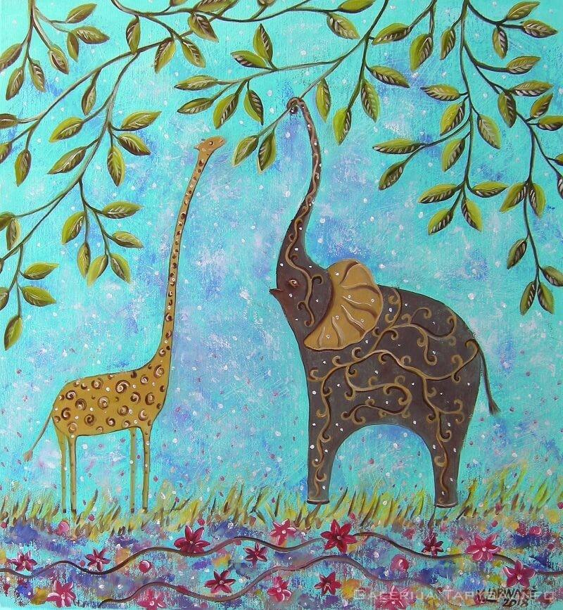 Žirafiukas ir drambliukas