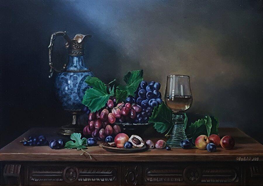 Natiurmortas su vynuogėmis ir persikais