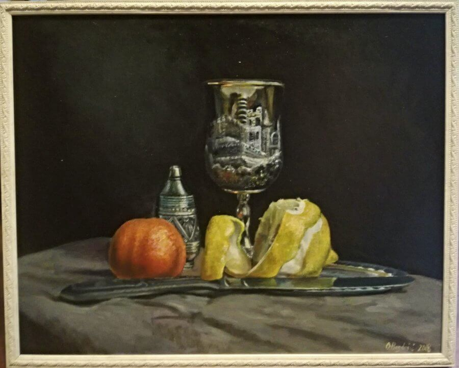 Natiurmortas su citrina ir apelsinu